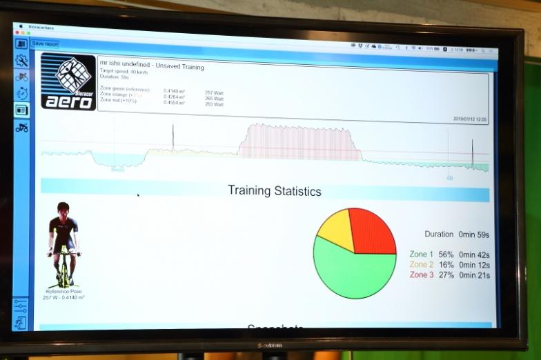 理想とするポジションをとってトレーナー上でペダリング。どれくらいの時間そのポジションがキープできたかを計測する。結果が円グラフで表示されている