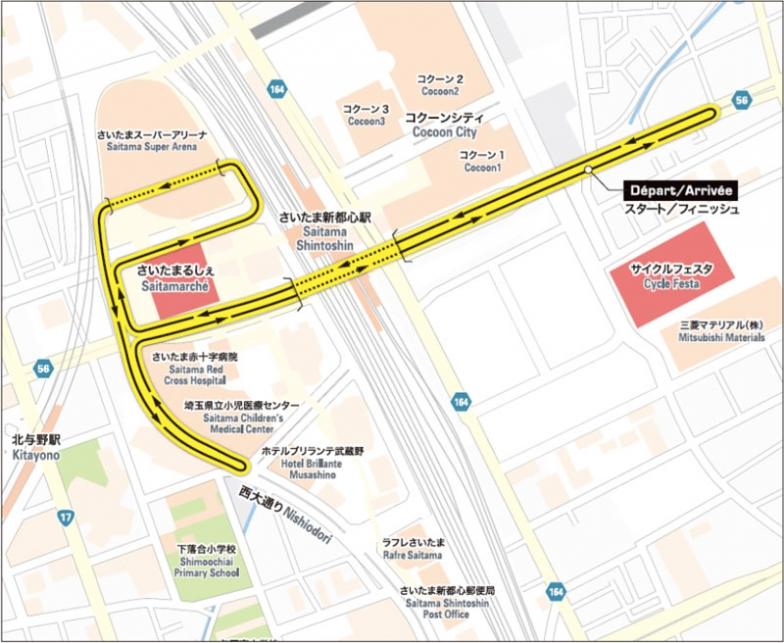 さいたま新都心通りを東西に走る、1km近い直線が特徴的な2019年大会のコース。3年ぶりにさいたまスーパーアリーナの中を通過する
