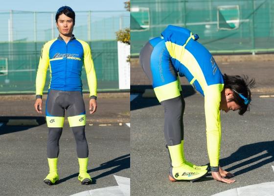 筋肉質で均整の取れた体付きをしている。立位前屈をすると手のひらがぺたっと地面についてしまうほど柔軟性は高い