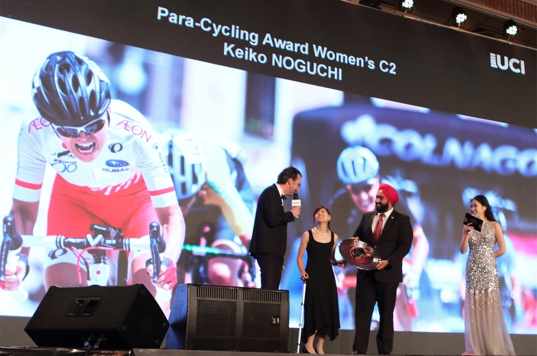 杉浦選手は、2018年最も活躍したパラサイクリング選手の一人としてUCI「Para-Cycling Award」を受賞した