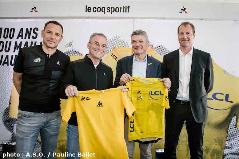 左からルコック社のマルクアンリ・ボージールCEO、ベルナール・イノー、ベルナール・テブネ、クリスティアン・プリュドム総合ディレクター