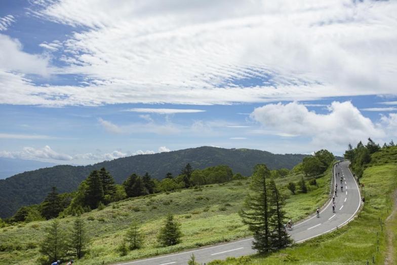 ゴール付近になると美ヶ原高原の絶景が広がる