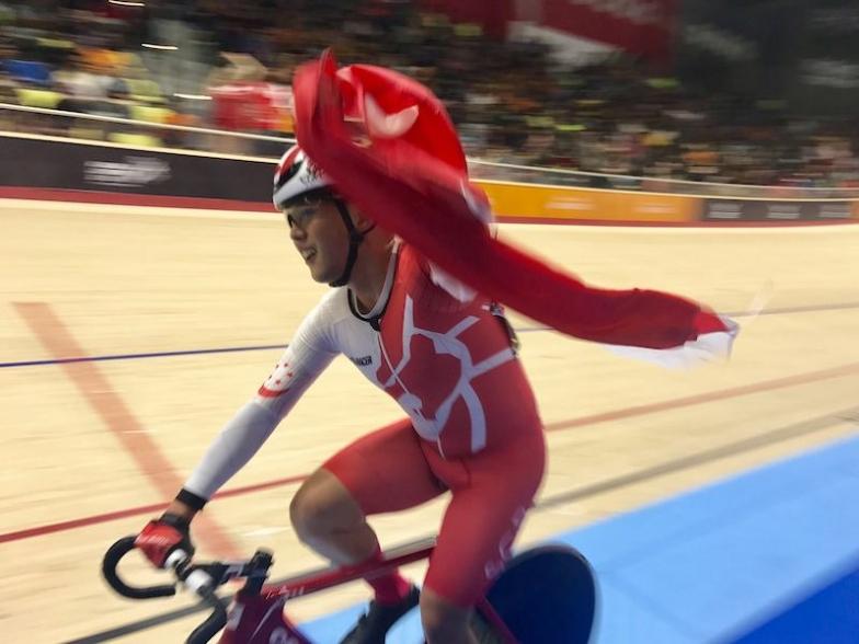 Photo by Singapore Cycling Federation 東アジア大会でオムニアムで優勝したカルビン・シム
