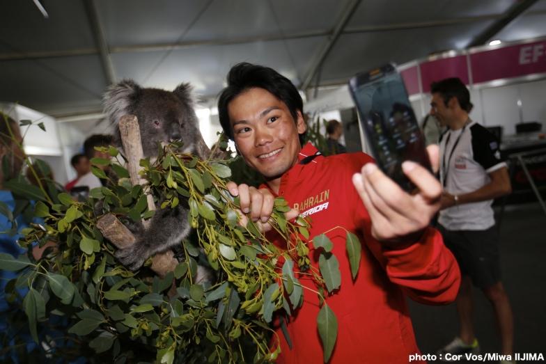 ツアー・ダウンアンダー恒例のコアラとの撮影会で自撮りする新城幸也 photo:Cor Vos/Miwa IIJIMA