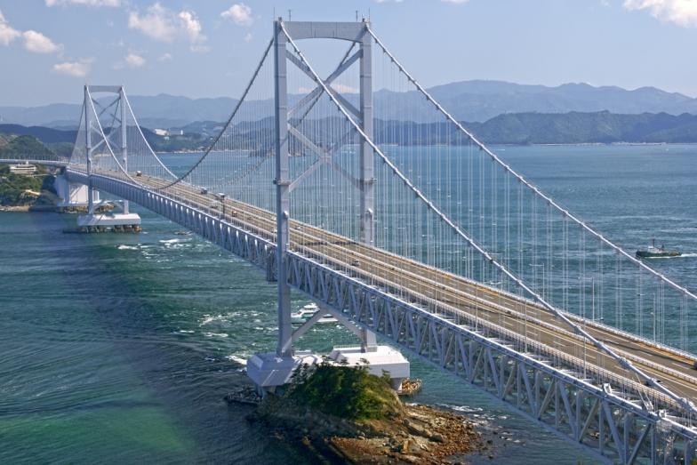 鳴門市側から見た大鳴門橋(Wikimedia Commons.)