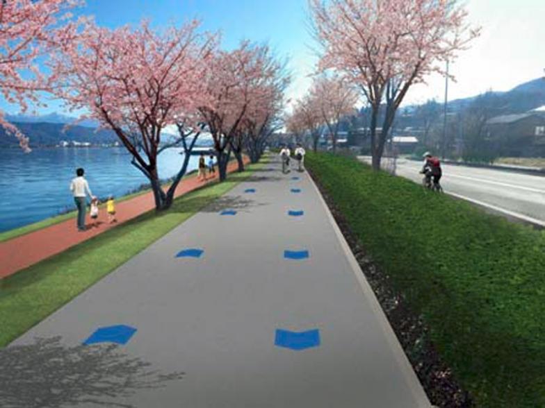 「諏訪湖周サイクリングロード」の整備イメージ。低速の自転車が対面通行し、歩行者やランナーは新設のジョギングロードを通行。ロードバイクなど高速の自転車は車道に誘導する(基本計画素案から引用)