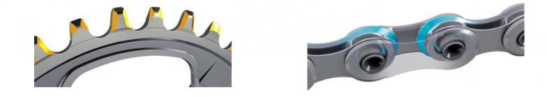 フロントチェーンリングの新しい歯先形状と、新型チェーン。インナープレートの青色の面とチェーンリングの黄色い面が、従来よりもチェーンリングとチェーンの接触面積を増やしパワー伝達効率が上がる