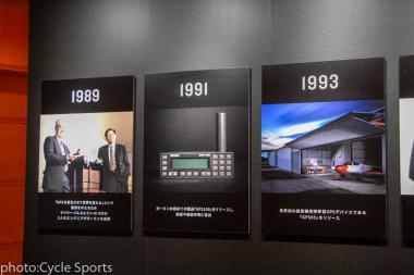 30年のガーミンの歴史を振り返り、パネルと実際の製品が展示されていた
