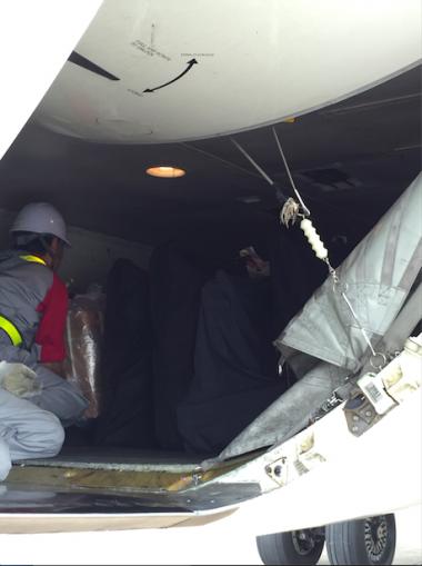 他航空会社の積載状態。トランクの後方に輪行バッグが見える