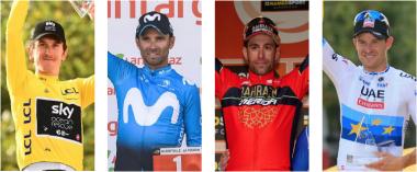 ツール総合優勝のG・トーマス、世界チャンピオンのA・バルベルデ、2014年ツール総合優勝V・ニバリ、欧州チャンピオンのA・クリストフ(写真左から)
