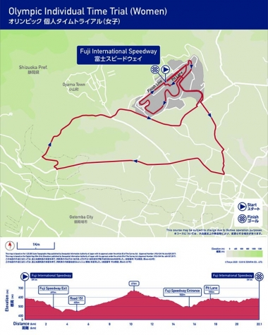 女子個人タイムトライアルコース。22.1km