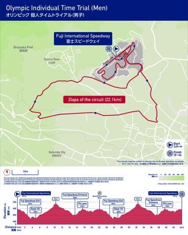 男子個人タイムトライアルコース。44.2km