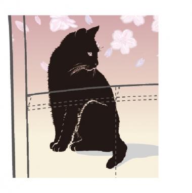 前身頃と後身頃で表情の異なる黒猫が桜と戯れている