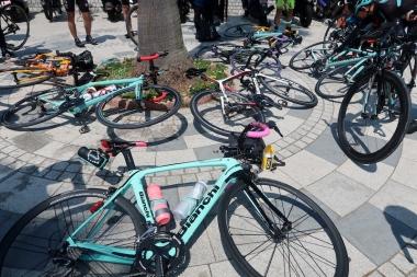 ビアンキのバイクがずらっと並ぶ Photo:サイクルスポーツ編集部