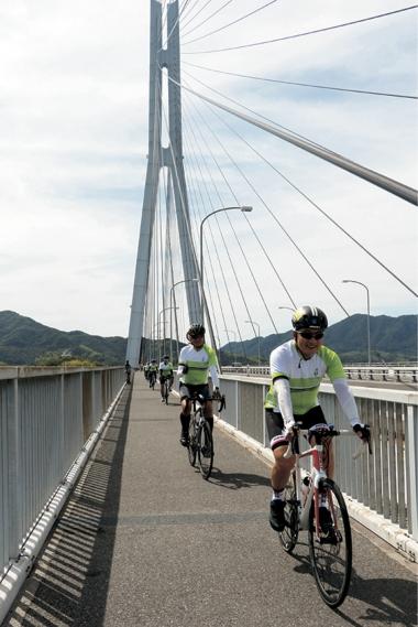 その後参加者は多々羅大橋を渡って、最終目的地広島県に突入