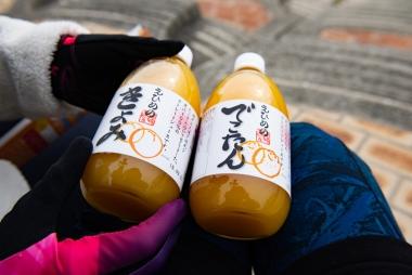 それぞれに絵も味も違う、いろんな種類の柑橘ジュース♪味も最高\(^o^)/