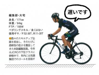 サイクルスポーツ編集部・大宅(おおや)。このジャージとチネリの自転車が目印です。超遅いですからご安心を