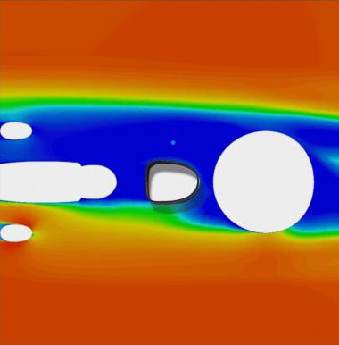 シートチューブ周辺の空力シミュレーション画像。D型断面を採用することで空力と快適性を両立。シートチューブの下側になるにつれて剛性が高まるよう徐々に積層させたカーボンレイアップを採用