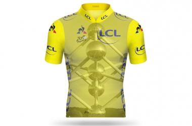 第2ステージで総合リーダーの選手が着用するマイヨ・ジョーヌにはアトミウムの写真が使われている