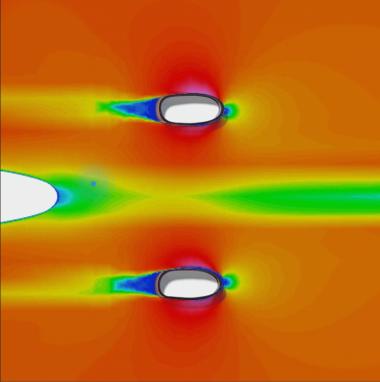 フォークの空力シミュレーション画像。それぞれのフォークが先端を切り落とした翼形状で作製され、クラウンの高さを低くするなど、どのサイズも前部の面積が最小限となっている