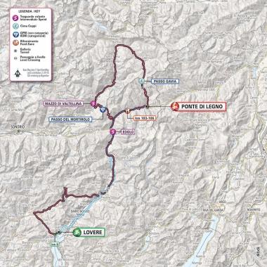 変更前のルート。ガビア峠を通過する予定だった (MAP : RCS Sport)