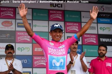 第5ステージで総合首位に立ち、バラ色のリーダージャージを獲得したナイロ・キンタナ