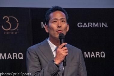 マークの日本での展開について説明するガーミンジャパンのマネージング・ダイレクター、岩田元樹氏。マークを長く愛用してもらいたいということでマークには