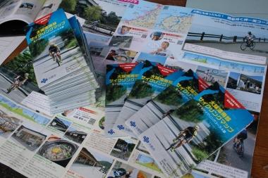 こちらが今回作成した「大阪湾南部サイクリングマップ」。ジャージのバックポケットにもおさまるサイズ感で、モデルサイクリングコース4つを紹介する