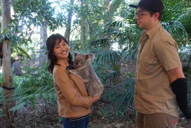飼育員さんに見守られながら女の子のコアラを抱っこ。ティンカーベルという名前もつぶらな瞳もすべてがキュート!