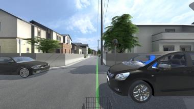 自転車で右側走行をしているシーン。間もなく画像右の自動車と疑似衝突する。衝突した自動車視点も体験し、俯瞰視点で全体を振り返る